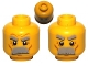Part No: 3626cpb0579  Name: Minifigure, Head Dual Sided Thick Moustache and Eyebrows, Determined / Angry Pattern - Hollow Stud