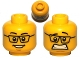 Part No: 3626cpb0585  Name: Minifigure, Head Dual Sided Black Glasses, Smile / Scared Pattern - Hollow Stud