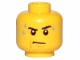 Part No: 3626cpb0643  Name: Minifigure, Head Male Stern Black Eyebrows, White Pupils, Frown, Sweat Drops Pattern - Hollow Stud