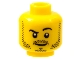 Part No: 3626cpb0653  Name: Minifigure, Head Beard Stubble, Black Raised Right Eyebrow, White Pupils Pattern - Hollow Stud