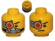 Part No: 3626cpb0824  Name: Minifigure, Head Dual Sided Cyborg Eyepiece, Eyebrow Left Side, Breathing Apparatus / Worried Pattern - Hollow Stud