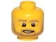 Part No: 3626cpb0849  Name: Minifigure, Head Beard Dark Tan Angular, Pupils, Bottom Eye Lid Line, Teeth Pattern - Hollow Stud