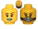 Part No: 3626cpb0878  Name: Minifigure, Head Dual Sided Female Black Eyebrows, Eyelashes, Blue Lips, Smile / Breathing Apparatus Pattern - Hollow Stud