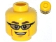 Part No: 3626cpb0992  Name: Minifigure, Head Glasses with Trans-Black Sunglasses, Dark Brown Eyebrows and Cheek Lines Pattern - Hollow Stud