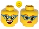 Part No: 3626cpb0993  Name: Minifigure, Head Dual Sided Female Glasses with Blue Frame, Medium Dark Flesh Eyebrows, Red Lips, Smirk / Open Smile Pattern - Hollow Stud