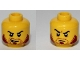 Part No: 3626cpb0995  Name: Minifigure, Head Dual Sided Beard Stubble Dark Red, Sideburns, Goatee, Curved Black Eyebrows, Lopsided Open Grin / Determined Pattern - Hollow Stud