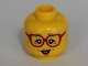Part No: 3626cpb0998  Name: Minifigure, Head Female Glasses Dark Pink, Gray Eyebrows, Crow's Feet Pattern - Hollow Stud
