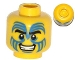Part No: 3626cpb1000  Name: Minifigure, Head Face Paint with Blue Swirls, Black Eyebrows and Grin Pattern - Hollow Stud