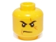Part No: 3626cpb1047  Name: Minifigure, Head Male Stern Black Eyebrows, White Pupils, Frown, Scar Across Left Eye, No Chin Dimple Pattern - Hollow Stud