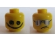 Part No: 3626cpb1050  Name: Minifigure, Head Dual Sided Silver Sunglasses with Vertical Lines / Scribble-Face Smile Pattern - Hollow Stud