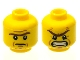 Part No: 3626cpb1053  Name: Minifigure, Head Dual Sided Brown Unibrow, Cheek Lines, Mouth Closed / Mouth Open Angry Pattern - Hollow Stud