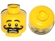 Part No: 3626cpb1056  Name: Minifigure, Head Moustache Curly Long Thick, Open Mouth, Scared Pattern - Hollow Stud