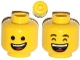 Part No: 3626cpb1058  Name: Minifigure, Head Dual Sided Open Lopsided Smile / Laughing Pattern (Emmet) - Hollow Stud