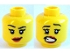Part No: 3626cpb1061  Name: Minifigure, Head Dual Sided Female Black Eyebrows, Eyelashes, Red Lips, Lopsided Smile  / Scared Open Mouth with Teeth Pattern - Hollow Stud