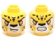 Part No: 3626cpb1164  Name: Minifigure, Head Dual Sided Alien Chima Leopard with Bright Light Orange Eyes, Fangs and Black Spots, Neutral / Angry Pattern (Lundor) - Hollow Stud