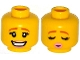 Part No: 3626cpb1189  Name: Minifigure, Head Dual Sided Female Dark Orange Eyebrows, Eyelashes, Bright Pink Lips, Smile / Eyes Closed, Kissing Pattern - Hollow Stud