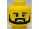 Part No: 3626cpb1213  Name: Minifigure, Head Beard Black Angular, Pupils, Teeth Pattern - Hollow Stud