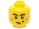 Part No: 3626cpb1217  Name: Minifigure, Head Male Dark Brown Bushy Eyebrows, Cheek Lines and Lopsided Smile Pattern - Hollow Stud