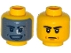 Part No: 3626cpb1250  Name: Minifigure, Head Dual Sided Black Eyebrows, Mouth Lines / Dark Bluish Gray Visor with Silver Squares, Open Smile with Teeth Pattern - Hollow Stud