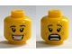 Part No: 3626cpb1310  Name: Minifigure, Head Dual Sided Female Brown Eyebrows, Freckles, Eyelashes, Peach Lips, Smile with Teeth / Scared Open Mouth Pattern - Hollow Stud