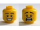 Part No: 3626cpb1311  Name: Minifigure, Head Dual Sided Black Eyebrows, White Pupils, Freckles, Smile with Teeth / Scared Open Mouth Pattern - Hollow Stud