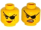 Part No: 3626cpb1334  Name: Minifigure, Head Dual Sided Female with Eyepatch, Smile / Angry Mouth with Teeth Pattern - Hollow Stud