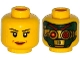 Part No: 3626cpb1336  Name: Minifigure, Head Dual Sided Female Black Eyebrows, Eyelashes, Brown Lips / Green and Gold Robot, Red Eyes and Eyebrows Pattern - Hollow Stud