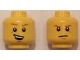 Part No: 3626cpb1345  Name: Minifigure, Head Dual Sided Dark Orange Eyebrows, Crooked Smile with Teeth / Determined, Closed Mouth Pattern - Hollow Stud