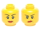 Part No: 3626cpb1350  Name: Minifigure, Head Dual Sided Female Red Lips, Crow's Feet and Beauty Mark, Smile / Annoyed with Short Frown Lines Pattern - Hollow Stud