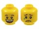 Part No: 3626cpb1354  Name: Minifigure, Head Dual Sided Huge Grin, White Pupils, Eyebrows / Sad with Tear, Concave Eyebrows Pattern - Hollow Stud