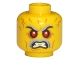 Part No: 3626cpb1355  Name: Minifigure, Head Gray Eyebrows and Moustache, Red Eyes, Angry with Bared Teeth, Forehead Wrinkles Pattern - Hollow Stud