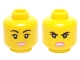 Part No: 3626cpb1358  Name: Minifigure, Head Dual Sided Female Black Eyebrows, Freckles, Eyelashes, Pink Lips, Open Mouth Smile / Angry Pattern (Wyldstyle) - Hollow Stud
