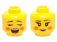 Part No: 3626cpb1439  Name: Minifigure, Head Dual Sided Female Rosy Cheeks, Brown Eyebrows, Pink Lips, Open Mouth / Closed Mouth Smile Pattern (Caroler) - Hollow Stud