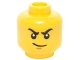 Part No: 3626cpb1455  Name: Minifigure, Head Male Stern Black Eyebrows, White Pupils and Smirk Pattern (Kai) - Hollow Stud