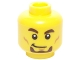 Part No: 3626cpb1457  Name: Minifigure, Head Dark Brown Thick Eyebrows and Goatee, White Pupils, Smirk and Cheek Lines Pattern - Hollow Stud