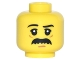 Part No: 3626cpb1484  Name: Minifigure, Head Black Eyebrows, White Pupils, Black Bushy Moustache Pattern - Hollow Stud