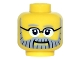 Part No: 3626cpb1496  Name: Minifigure, Head Gray Eyebrows and Full Beard with Black Lines, Black Glasses and White Pupils Pattern - Hollow Stud