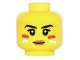 Part No: 3626cpb1499  Name: Minifigure, Head Female Black Eyebrows, Dark Orange Lips and Red and White Face Paint Pattern - Hollow Stud