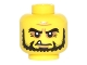 Part No: 3626cpb1500  Name: Minifigure, Head Bushy Black Eyebrows and Beard, Wrinkles and One White Fang Pattern - Hollow Stud