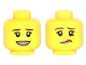 Part No: 3626cpb1501  Name: Minifigure, Head Dual Sided Female Dark Brown Eyebrows, Dark Tan Lips with Open Smile / Lip and Eyebrow Raised Pattern - Hollow Stud