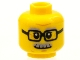Part No: 3626cpb1566  Name: Minifigure, Head Glasses Rectangular, Gray Eyebrows and Moustache Pattern - Hollow Stud