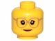 Part No: 3626cpb1568  Name: Minifigure, Head Female Glasses Dark Tan, Gray Eyebrows, Crow's Feet, Peach Lips Pattern - Hollow Stud