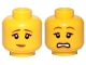 Part No: 3626cpb1571  Name: Minifigure, Head Dual Sided Female Brown Eyebrows, Peach Lips, Pensive Smile / Scared Pattern - Hollow Stud