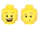Part No: 3626cpb1591  Name: Minifigure, Head Dual Sided Dark Tan Eyebrows and Stubble Beard, Open Smile / Raised Left Eyebrow, Lost Pattern - Hollow Stud
