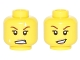 Part No: 3626cpb1593  Name: Minifigure, Head Dual Sided Female, Dark Tan Lips, White Sweat Beads, Teeth Clenched / Lopsided Open Smile Pattern - Hollow Stud