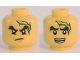 Part No: 3626cpb1667  Name: Minifigure, Head Dual Sided Black Bushy Eyebrows, Chin Dimple, Lightning Bolt, Scowl / Open Mouth with Teeth Pattern - Hollow Stud