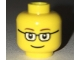 Part No: 3626cpb1699  Name: Minifigure, Head Glasses Rectangular, Brown Thin Eyebrows, Smile Pattern - Hollow Stud