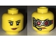 Part No: 3626cpb1703  Name: Minifigure, Head Dual Sided Female Black Eyebrows, Eyelashes, Lopsided Grin with Pink Lips / Mechanical Goggles and Headset Pattern - Hollow Stud