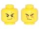 Part No: 3626cpb1760  Name: Minifigure, Head Dual Sided Black Eyebrows, Scar Across Left Eye, Smirk / Orange Rimmed Eyes, Gold Pupils, Scowl Pattern - Hollow Stud