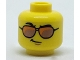 Part No: 3626cpb1823  Name: Minifigure, Head Glasses, Orange and Copper Sunglasses, Black Eyebrows, Right Raised Eyebrow, Smirk Pattern - Hollow Stud